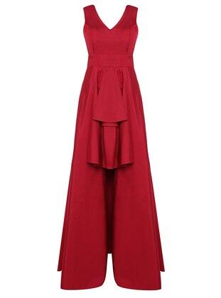 Fuchsia - Fully Lined - V neck Collar - Viscose - Modest Evening Dress