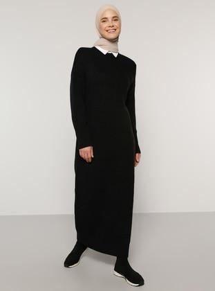 Black - Unlined - Crew neck - Acrylic -  - Knit Dresses - Benin