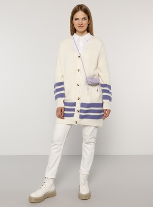 Ecru - Lilac - Stripe - V neck Collar - Acrylic - - Plus Size Cardigan