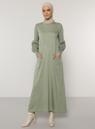 Green Almond - Unlined - Crew neck - Acrylic -  - Knit Dresses