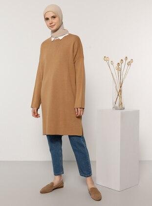 Camel - Crew neck - Knit Tunics