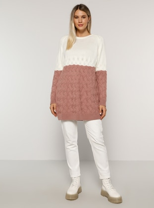 Ecru - Dusty Rose - Acrylic -  - Crew neck - Plus Size Knit Tunics