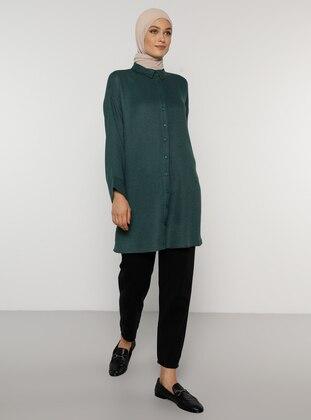 Green - Point Collar - Acrylic - Viscose - Tunic