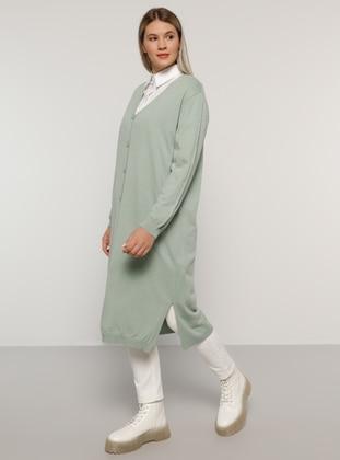 Sea-green - V neck Collar - Acrylic -  - Plus Size Cardigan