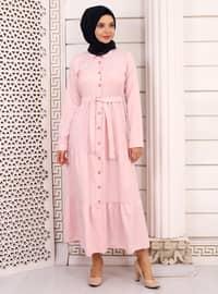 Pudra - Fransız yakası - Astarsız kumaş - - Elbise