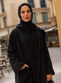 Black - Unlined - Polo neck - Acrylic - - Topcoat