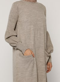 Mink - Unlined - Crew neck - Acrylic -  - Knit Dresses
