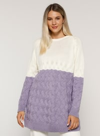 White - Lilac - Acrylic - - Crew neck - Plus Size Knit Tunics