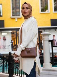 White - Ecru - Polo neck - Unlined - Knit Tunics