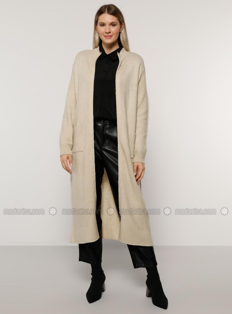 Stone - Crew neck - Acrylic - - Plus Size Cardigan