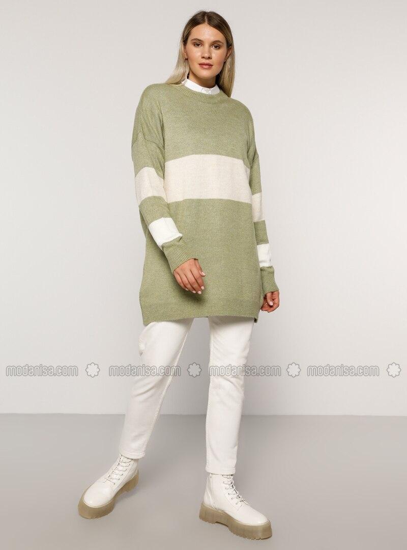Sea-green - Acrylic - Crew neck - Plus Size Knit Tunics