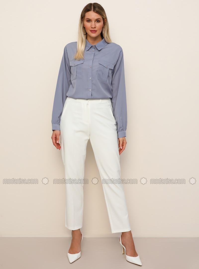 White - Plus Size Pants