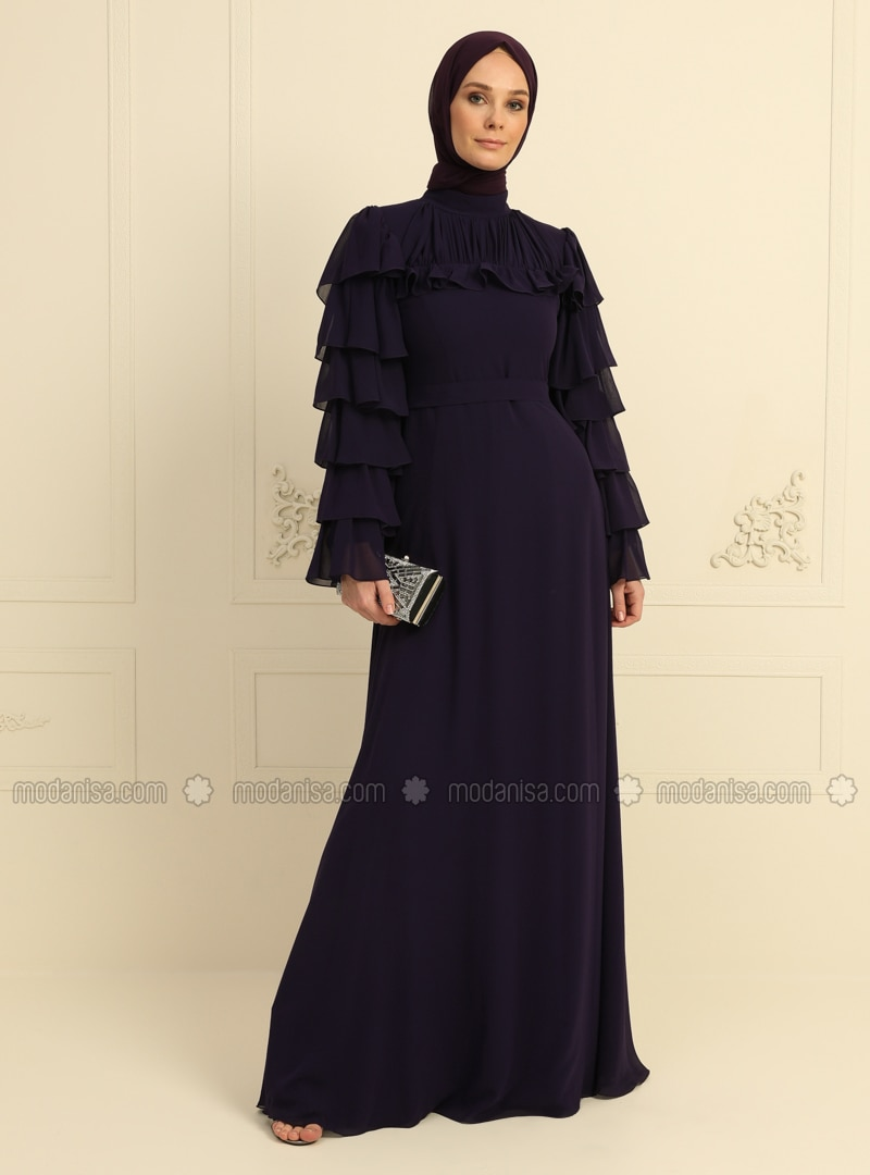Purple - Fully Lined - Polo neck - Muslim Evening Dress
