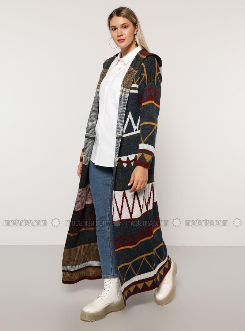 Navy Blue - Multi - Acrylic -  - Plus Size Cardigan