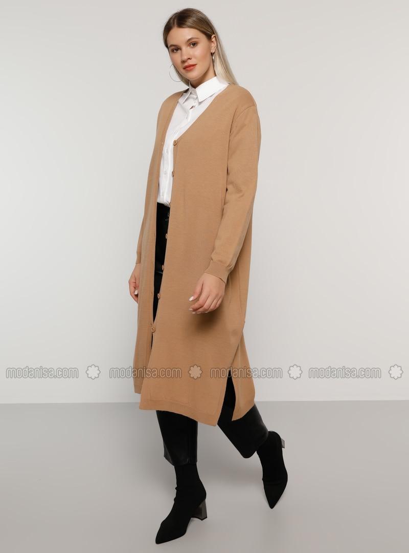 Nude - V neck Collar - Acrylic -  - Plus Size Cardigan