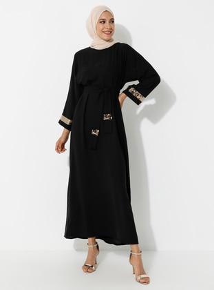 Gold - Black - Crew neck - Unlined - Dress