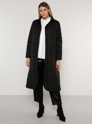 Black - Unlined - Plus Size Overcoat