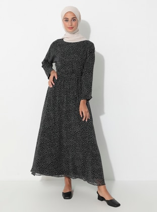 Black - Multi - Crew neck - Fully Lined - Dress
