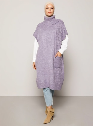 Lilac - Polo neck - Unlined - Knit Tunics