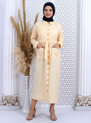 Yellow - Point Collar - Unlined -  - Dress