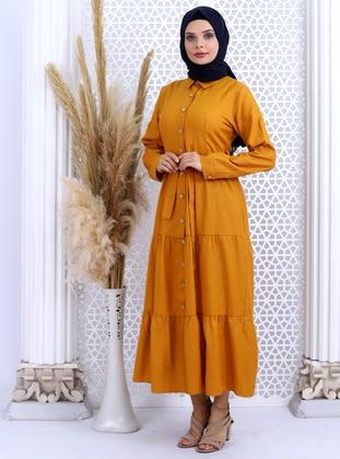 Mustard - Point Collar - Unlined -  - Dress