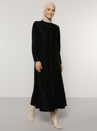 Black - Point Collar - Unlined - Polyurethane - Polyvinyl Chloride - Dress