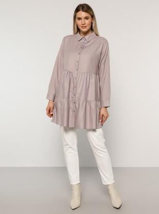 Lilac - Point Collar -  - Plus Size Tunic - Alia