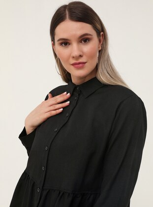 Black - Point Collar -  - Plus Size Tunic
