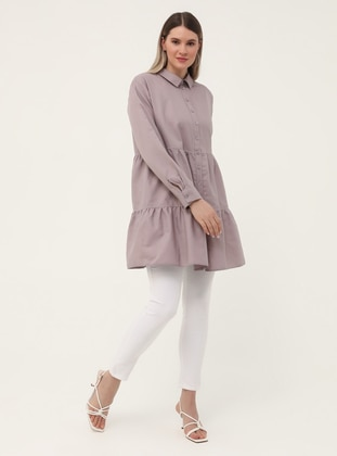 Oversize Button Down Tunic - Dusty Lilac