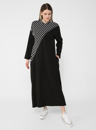 Oversize Natural Fabric Striped Dress - Black
