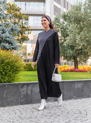 Oversize Natural Fabric Striped Dress - Black