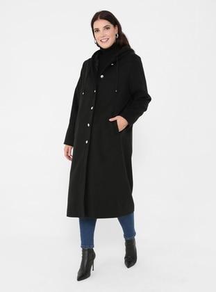 Black - Unlined - Plus Size Overcoat - Alia