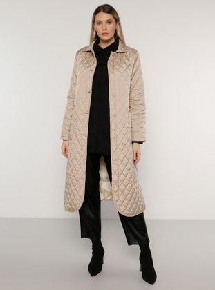 Camel - Stone - Unlined - Plus Size Overcoat