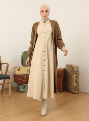 Ecru - Point Collar - Unlined - Polyurethane - Polyvinyl Chloride - Dress