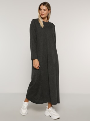 Anthracite - Unlined - Crew neck -  - Plus Size Dress - Alia