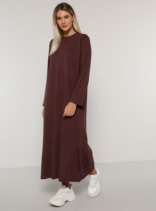 Purple - Unlined - Crew neck -  - Plus Size Dress - Alia