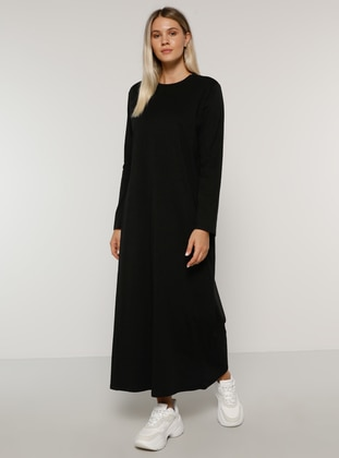 Black - Unlined - Crew neck -  - Plus Size Dress - Alia