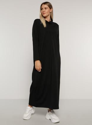 Black - Unlined - Polo neck -  - Plus Size Dress