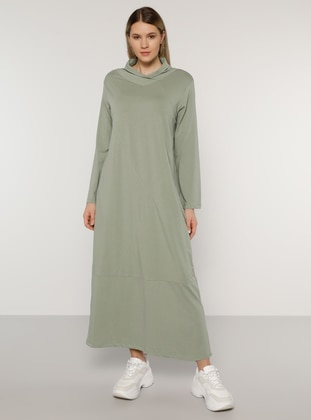 Olive Green - Unlined - Polo neck - - Plus Size Dress