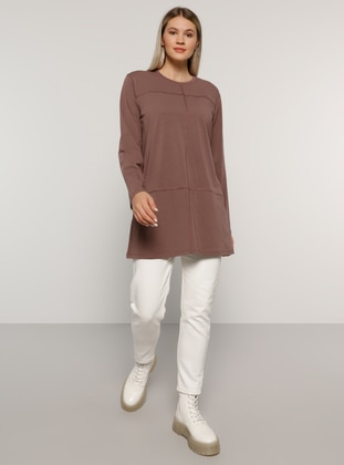 Gray - Crew neck -  - Plus Size Tunic - Alia