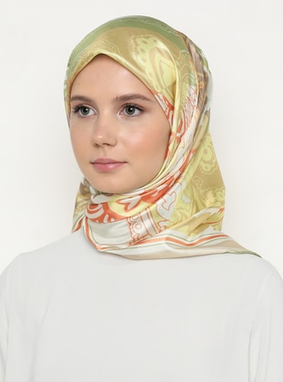 Multi - Olive Green - Light Pink - Printed - Scarf