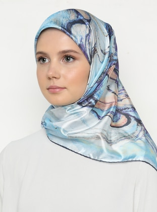 Multi - Blue - Printed - Scarf
