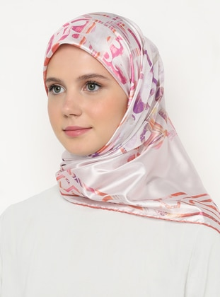 Multi - Pink - Light Pink - Printed - Scarf
