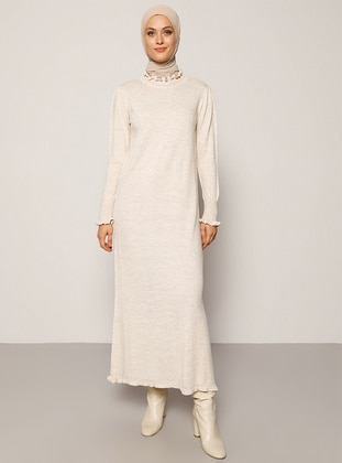 Beige - Unlined - Polo neck - Acrylic -  - Knit Dresses