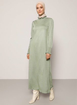 Green Almond - Green - Unlined - Polo neck - Acrylic -  - Knit Dresses