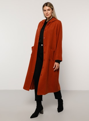 Terra Cotta - Unlined - Acrylic - - Plus Size Overcoat
