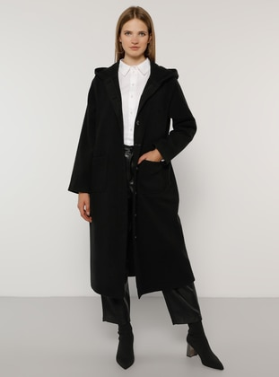 Black - Unlined - Acrylic -  - Plus Size Overcoat - Alia