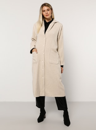 Olive Green - Unlined - Acrylic - - Plus Size Overcoat