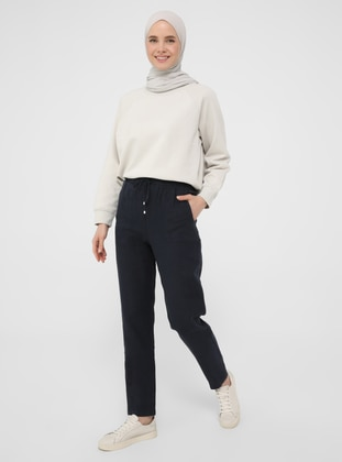 Navy Blue - Linen - Pants