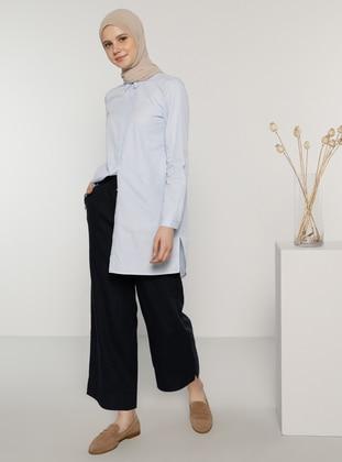 Navy Blue - Linen - Pants